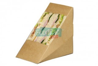 ENVASE SANDWICH CARTON MARRON C/VENTANA 80MM