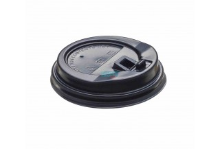 TAPA PS NEGRO C/BEBEDOR VASO 240CC (8OZ) Ø80MM