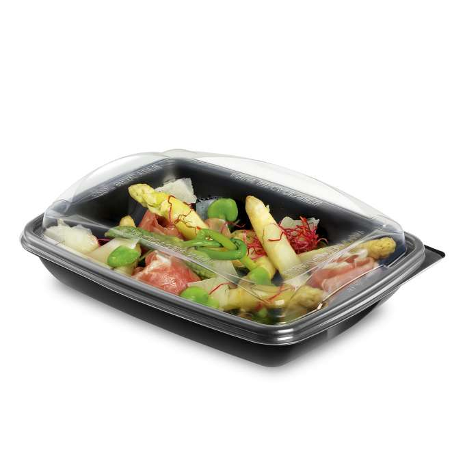 ENVASE NEGRO PP DELIVERY 550CC + TAPA 195X146X55MM