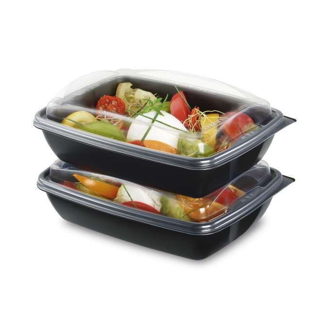 ENVASE NEGRO PP DELIVERY® 750CC + TAPA 195X146X65MM