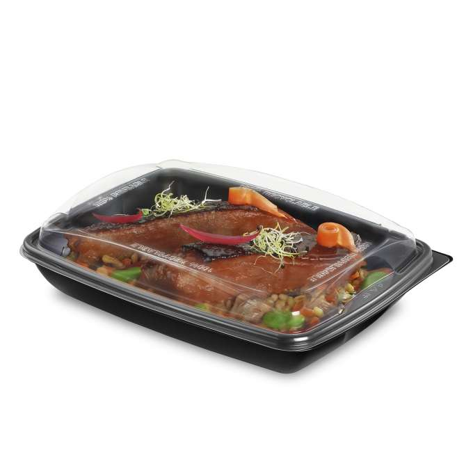 ENVASE NEGRO PP DELIVERY® 950CC + TAPA 232X172X60MM